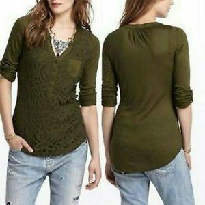 Vanessa Virginia Olive Green Lace Henley Shirt